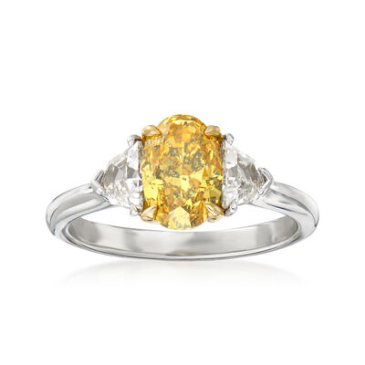C. 2020 Vintage 1.54 Carat Certified Yellow Diamond and .61 ct. t.w. Diamond Engagement Ring in Platinum and 18kt Yellow  Gold