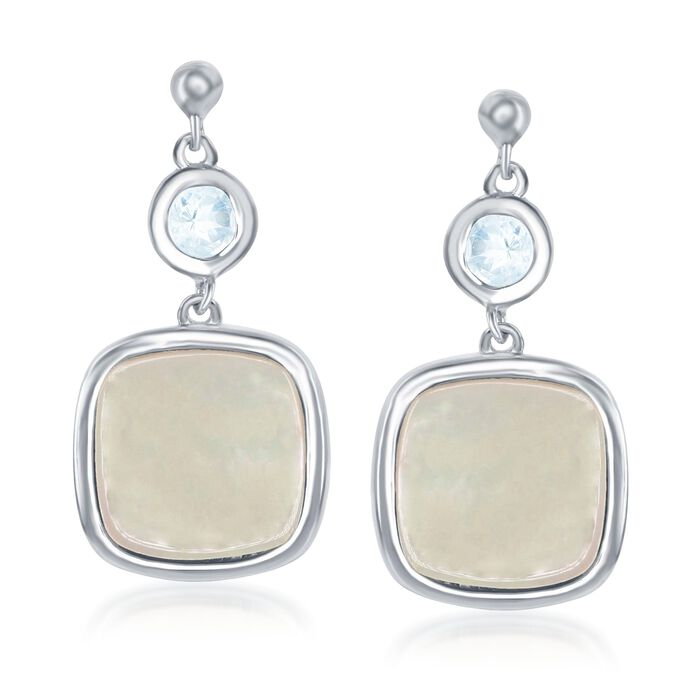 Mother-Of-Pearl and .50 ct. t.w. Blue Topaz Drop Earrings in Sterling Silver, , default