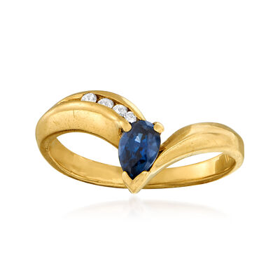 C. 1990 Vintage .50 Carat Sapphire and .10 ct. t.w. Diamond Ring in 14kt Yellow Gold, , default