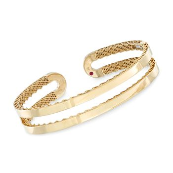 """Roberto Coin """"Symphony"""" 18kt Yellow Gold Double Cuff Bracelet. 7"""", , default"""