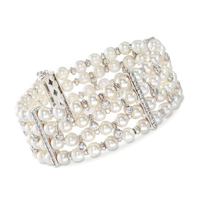C. 1990 Vintage 5.5mm Cultured Pearl and 2.70 ct. t.w. Diamond Bracelet in 18kt White Gold, , default
