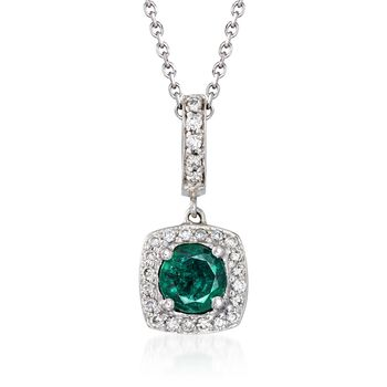 """.60 Carat Emerald and .19 ct. t.w. Diamond Pendant Necklace in 14kt White Gold. 18"""", , default"""