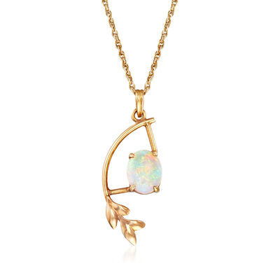 C. 1970 Vintage Opal and Leaf Pendant Necklace in 14kt Yellow Gold, , default