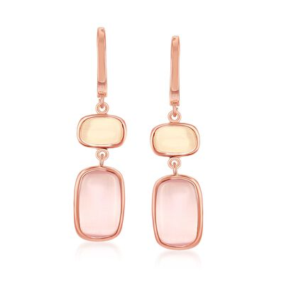Champagne and Pink Glass Drop Earrings in 18kt Rose Gold Over Sterling