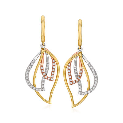.35 ct. t.w. Diamond Leaf Drop Earrings in 14kt Tri-Colored Gold
