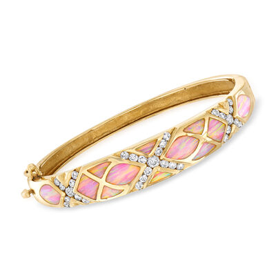 C. 1980 Vintage Pink Opal and 1.65 ct. t.w. Diamond Bangle Bracelet in 14kt Yellow Gold, , default