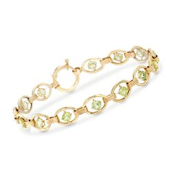 3.80 ct. t.w. Peridot Oval-Link Bracelet in 14kt Yellow Gold , , default