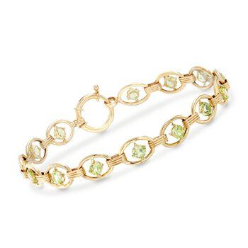 3.80 ct. t.w. Peridot Oval-Link Bracelet in 14kt Yellow Gold , , default