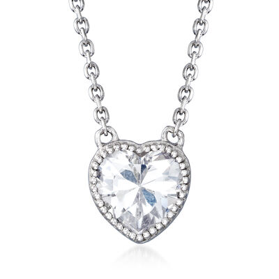 2.00 Carat CZ Heart Necklace in Sterling Silver