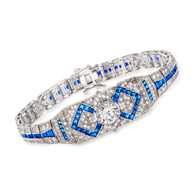 4.65 ct. t.w. CZ and 3.80 ct. t.w. Simulated Sapphire Bracelet in Sterling Silver, , default