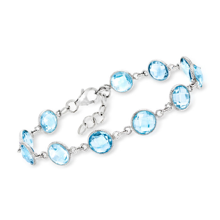"""20.00 ct. t.w. Sky Blue Topaz Bracelet in Sterling Silver. 7"""""""