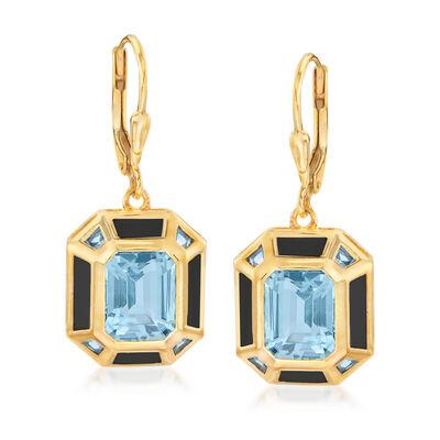 5.75 ct. t.w. Sky Blue Topaz, .50 ct. t.w. Swiss Blue Topaz and Black Enamel Vintage-Style Drop Earrings in 18kt Gold Over Sterling