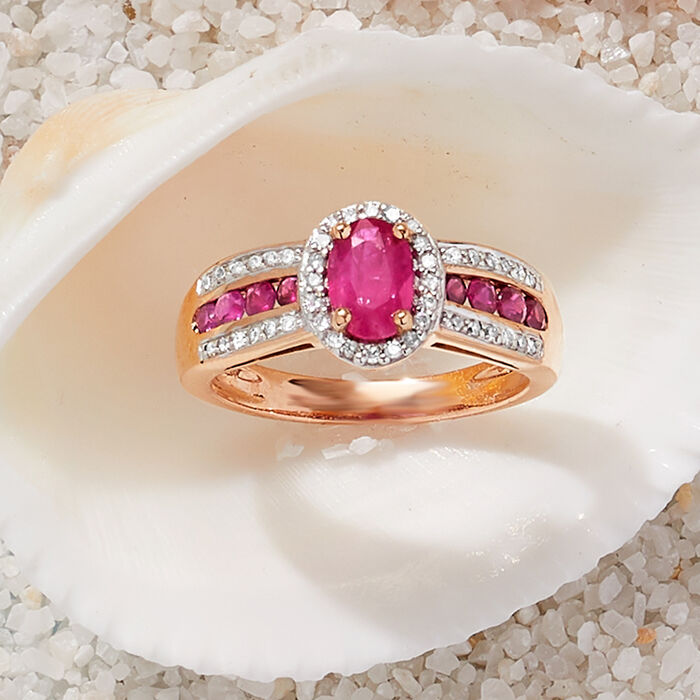 1.40 ct. t.w. Ruby and .20 ct. t.w. Diamond Ring in 14kt Rose Gold