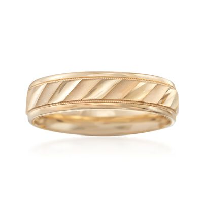 Men's 6mm 14kt Yellow Gold Satin Wedding Ring, , default