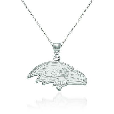 """Sterling Silver NFL Baltimore Ravens Large Pendant Necklace. 18"""", , default"""