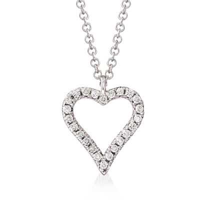 Gabriel Designs .11 ct. t.w. Diamond Heart Pendant Necklace in 14kt White Gold