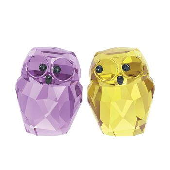 "Swarovski Crystal ""In Love - Victor & Victoria"" Purple and Yellow Crystal Figurine Set: Two Owls, , default"