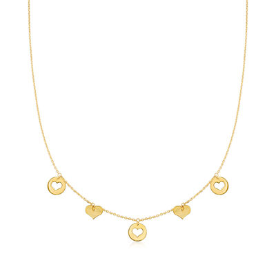 14kt Yellow Gold Alternating Heart Necklace