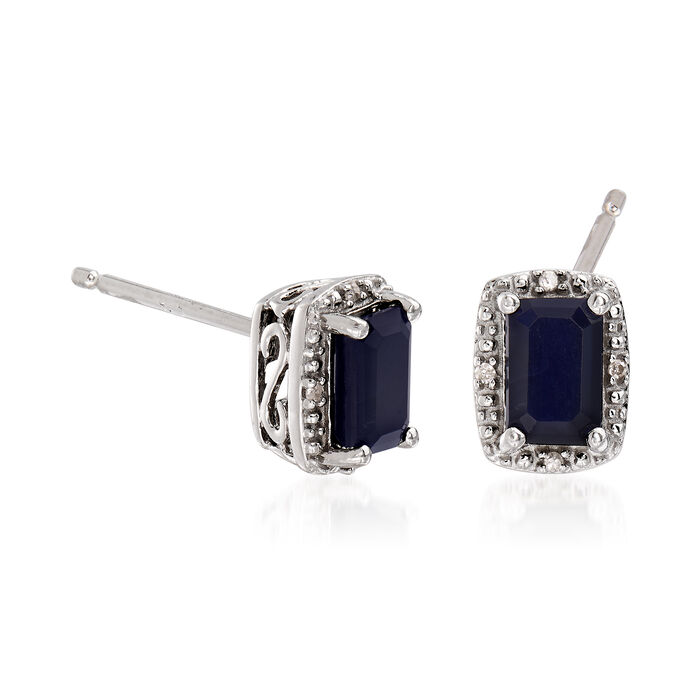 1.30 ct. t.w. Sapphire Stud Earrings with Diamond Accents in Sterling Silver