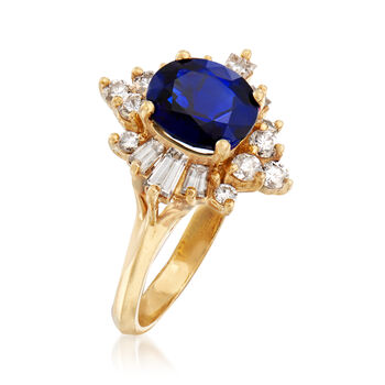 C. 1990 Vintage 2.00 Carat Sapphire and .75 ct. t.w. Diamond Ring in 18kt Yellow Gold. Size 5.5, , default