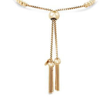 Italian 18kt Yellow Gold Over Sterling Silver Beaded Bolo Bracelet , , default