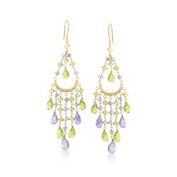 14.00 ct. t.w. Peridot and 11.00 ct. t.w. Iolite Chandelier Earrings in 14kt Yellow Gold, , default