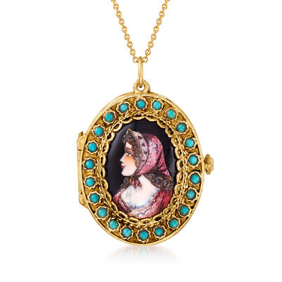 C. 1950 Vintage Painted Glass Cameo Locket Pendant Necklace with Amazonite in 14kt Yellow Gold