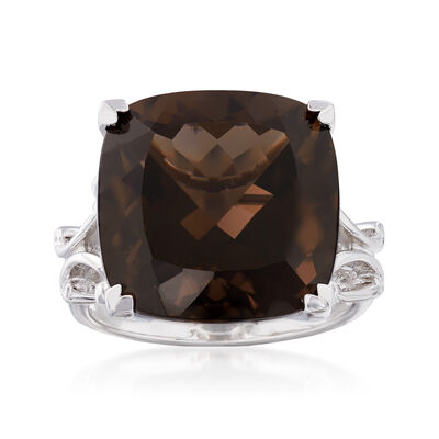 12.00 Carat Smoky Quartz Ring in Sterling Silver
