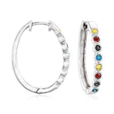 .50 ct. t.w. Multicolored Diamond Hoop Earrings in Sterling Silver