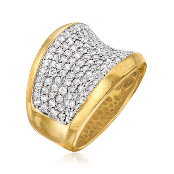 C. 1980 Vintage 1.93 ct. t.w. Pave Diamond Ring in 18kt Yellow Gold. Size 7.5, , default