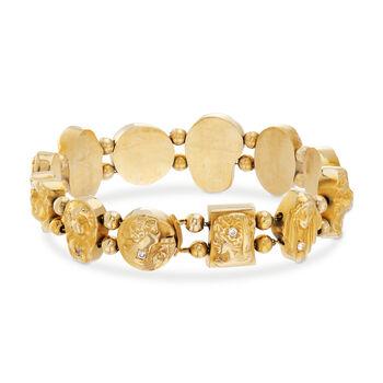 "C. 1970 Vintage 14kt Yellow Gold Goddess Bracelet with .33 ct. t.w. Diamonds. 7.25"", , default"