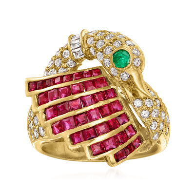 C. 1980 Vintage 2.21 ct. t.w. Ruby and .12 ct. t.w. Diamond Swan Ring with .10 Carat Emerald in 18kt Yellow Gold