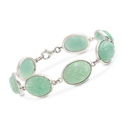 "Green Jade Scarab Bracelet in Sterling Silver. 8"", , default"