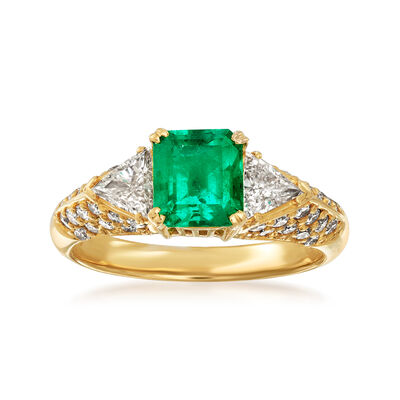 C. 1980 Vintage 1.16 Carat Emerald and .79 ct. t.w. Diamond Ring in 18kt Yellow Gold