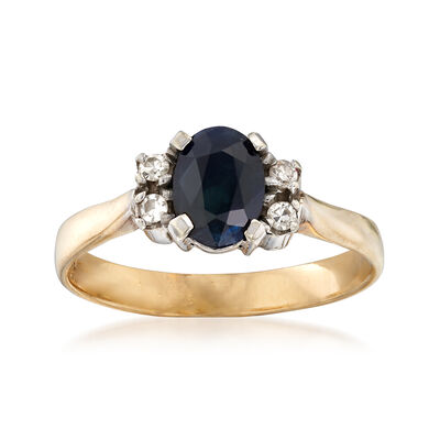 C. 1988 Vintage .90 Carat Sapphire Ring with Diamond Accents and British Hallmark in 9kt Yellow Gold, , default