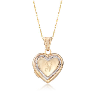 Italian 14kt Yellow Gold Single Initial Heart Locket Adjustable Necklace, , default