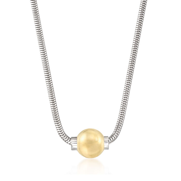 Cape Cod Jewelry 14kt Yellow Gold Bead Necklace with Sterling Silver