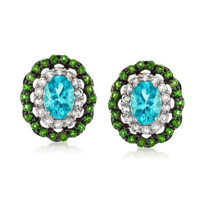 1.30 ct. t.w. Teal Apatite Earrings With Green Chrome Diopsides and White Zircons in Sterling Silver, , default