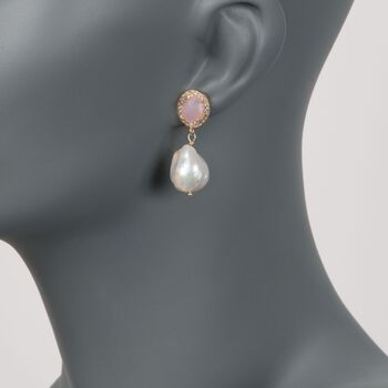 13-13.5mm Cultured Baroque Pearl and Rose Quartz Drop Earrings in 14kt Gold Over Sterling, , default