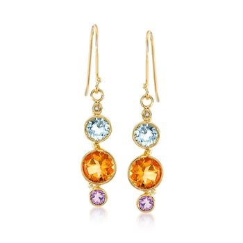 5.00 ct. t.w. Multi-Stone Drop Earrings With Diamond Accents in 14kt Gold Over Sterling, , default