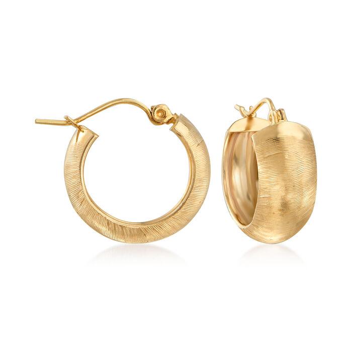 """14kt Yellow Gold Huggie Hoop Earrings. 5/8"""""""