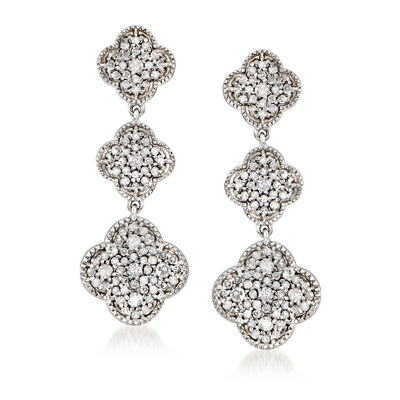 1.00 ct. t.w. Diamond Graduated Clover Drop Earrings in Sterling Silver