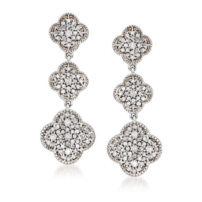 1.00 ct. t.w. Diamond Graduated Clover Drop Earrings in Sterling Silver, , default