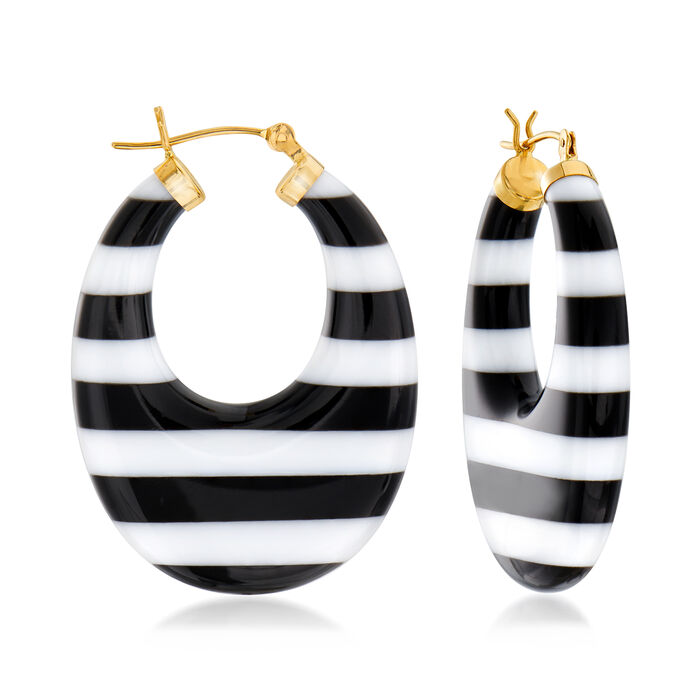 Black and White Agate Earrings in 14kt Yellow Gold. 1 1/2""
