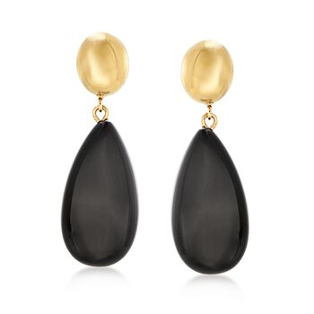 14kt Yellow Gold and Black Onyx Teardrop Earrings, , default