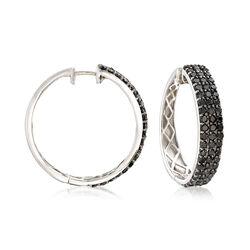 3.00 ct. t.w. Black Diamond Three-Row Hoop Earrings in Sterling Silver, , default