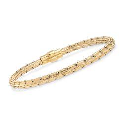 "Italian 18kt Yellow Gold Over Sterling Silver Mesh Bracelet. 7.5"", , default"