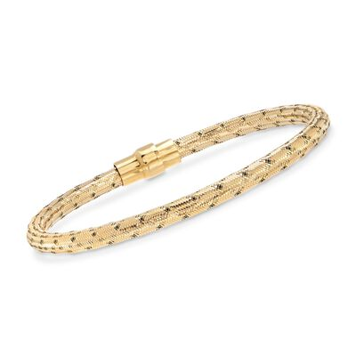 Italian 18kt Yellow Gold Over Sterling Silver Mesh Bracelet, , default