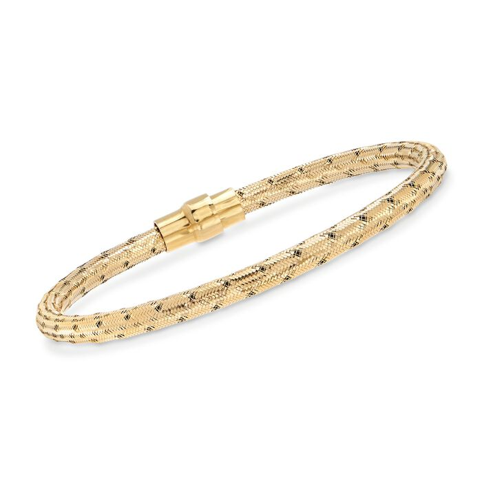 "Italian 18kt Yellow Gold Over Sterling Silver Mesh Bracelet. 7.5"", , default"