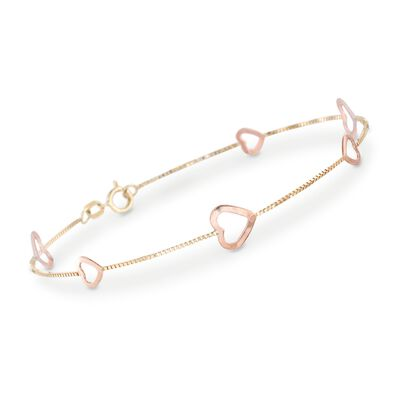 14kt Two-Tone Gold Heart Station Bracelet, , default